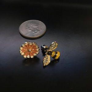 Jewelry - Asymmetrical flower and bee stud earrings